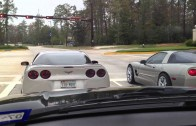 Two Turkeys on Thanksgiving Wrecking their Corvettes in The Woodlands