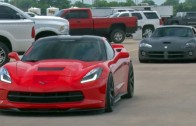 Chick in a Procharged C7 Corvette Takes Down a Viper!