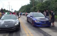 Supercharged/Nitrous C7 Corvette Stingray vs Built Evo on Slicks