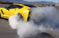 C7 Corvette Stingray Nearly Wrecks While Drag Racing a BMW M3