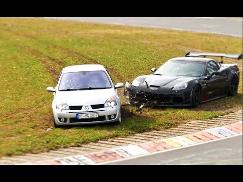 Clio and a C6 Corvette Crash on the Nurburgring